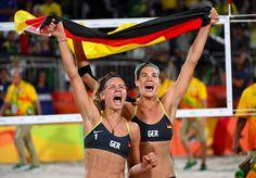 Laura Ludwig and Kira Walkenhorst #GER struck #BeachVolleyball #Gold after defeating #BRA (21-18,