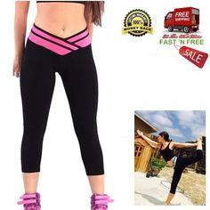 Women Gym Pants Yoga Sport Trousers Breathable Leggings Cotton Stretch Exercise  #HOVEOX #VShape