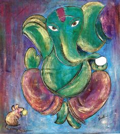 lord ganesha painting,acrylic on canvas Lord Ganesha Paintings, Ganesha Art, Puja Room, Art Forms, Mythology, Pencil Sketching, Watercolor, Acrylic Paintings, Goddesses
