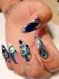 Peacock nail art done by me, ...... Love these nails I would love to have mine like this for my wedding just nt the pointy ones i want long rounded ones!!
