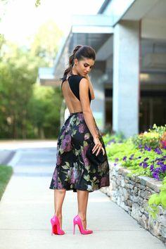 Alfreda Black Multi Full Satiny Floral A-skirt