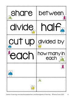 FREEBIE Multiplication and Division Key Word cards to cut up and sort. Also Key Word Posters for multiplication and division by Games 4 Learning