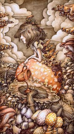 Adam Oehlers is an illustrator from Norwich, England. His magical, detailed drawings tell both known and unknown fantastic tales. Art And Illustration, Watercolor Illustration, Mushroom Art, Photo D Art, Detailed Drawings, Psychedelic Art, Whimsical Art, Trippy, Alice In Wonderland