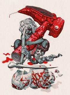 """James Jean, The Endz (Mangchi Hammer). Ink and Digital, 9 x 12"""", 2014. ______ See more on iheartmyart"""