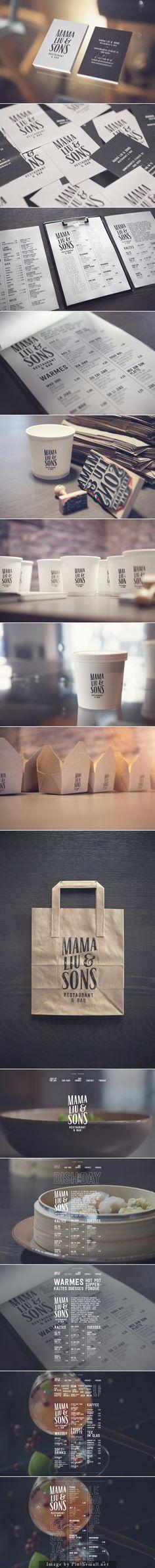 Mama Liu & Sons branding corporate identity stationary packaging cup bag box…