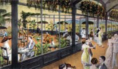 The Ambassador Hotel's Parrot Porch was one of several less formal dancing and dining rooms located on the ground floor of the Ambassador Hotel when it opened in 1921. The color scheme was blue and orange and had goldfish bowls with fish as well as exotic birds. The opening house band for all three of the informal dining areas was the Max Fischer dance orchestra.