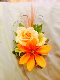 Like the loops and spikes.not crazy about the color Homecoming Flowers, Homecoming Corsage, Prom Flowers, Pretty Flowers, Silk Flowers, Wedding Flowers, Sunset Wedding, Wedding 2015, Floral Wedding