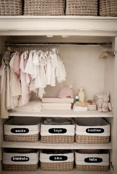 Labelled baskets instead of mystery drawers in a dresser. They can be removed, reused, multiple sizes, and rearranged.