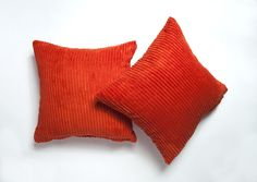 A pair of Fresh Orange cushion Covers. Link to shop in bio. Orange Cushion Covers, Orange Cushions, Striped Cushions, Throw Pillows, Fresh, Link, Shop, Design, Toss Pillows