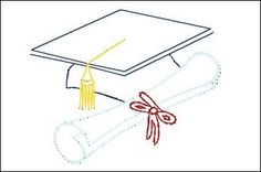 Graduation Diploma Cap  Paper Embroidery Pattern for by Darse, $1.50