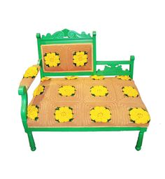 RePurpose Shop — upcycled afghan settee, what a great idea for reusing an old blanket, wonderful color combination too