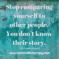 """📣  Trust me...  📣  My practice is filled with high achieving individuals who have a backstory that's far from ideal.   📣 In fact, I""""m a high achieving individual who's backstory is far from ideal.  📣  The only person you should be comparing yourself to is the person you were yesterday.   #techtalktherapy, #onlinecounseling, #onlinetherapy, #atlantatherapist, #raleightherapist, #arlingtontherapist, Stop Comparing, Trust Me, Other People, Therapy, Tech, Facts, Technology, Counseling, Knowledge"""