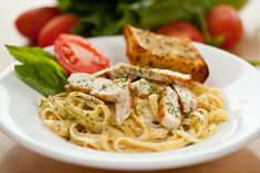 Grilled Chicken Fettucine Alfredo on BigOven: Smoky grilled chicken is tossed with rich and creamy Fettucine Alfredo. Chicken Fettucine, Fettucine Alfredo, Chicken Spaghetti, Chicken Alfredo, Alfredo Sauce, Italian Dishes, Italian Recipes, Pasta With Herbs, Fresh Pasta