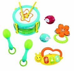 Winfun My 1st Band Kit by Winfun. $17.99. From the Manufacturer                Baby will be a music lover too with this groovy baby bongo. Touch the soft drum pads and hear drum sounds, animal sound effects and rhythm selections as well as see flashing lights. Nice to have vollume control too.                                    Product Description                2006-NL Features: -My first band kit.-Drum with drumsticks and adjustable strap.-Maracas, tambourine and cast...