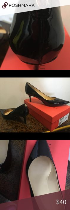 Ivanka trump patent leather heels Beautiful heels. Worn only once. Love them but too tight during pregnancy. Feet never returned to normal! My loss your gain. About 2 inch heel Ivanka Trump Shoes Heels