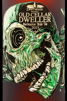 A detail from the new Old Cellar Dweller label design, for Driftwood Brewery.