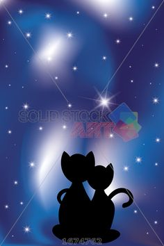 stock illustration of look into the night sky two black kats in love under the night sky