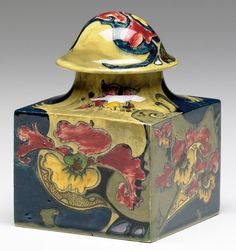 """ROZENBURG Four-sided inkwell painted with red and golden orchid blossoms, complete with liner. Stamped Rozenburg Den Haag with crown, artist cipher, 173. 4 1/2"""" x 3 1/4"""" sq."""