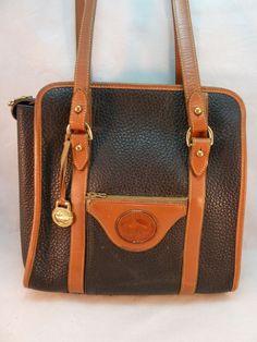 Vintage Dooney & Bourke Purse All Weather Pebbled Leather Satchel Bag Black USA #DooneyBourke #Satchel