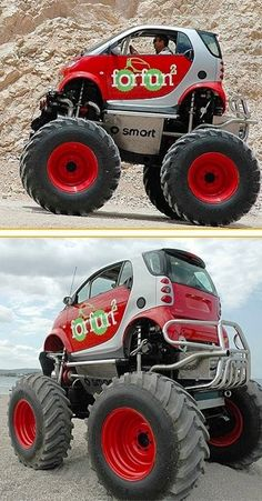 Smart Monster Truck - they finally found a good use for a smart car! Smart Auto, Smart Car, Cars 1, Hot Cars, Cool Trucks, Big Trucks, Monster Trucks, Monster Car, Mini Monster