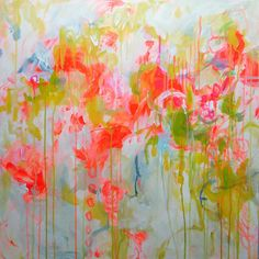 abstract art painting contemporary Large pink by ElenasArtStudio