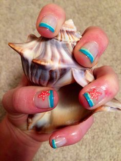 Essie summer nails. Blue tips and Starfish