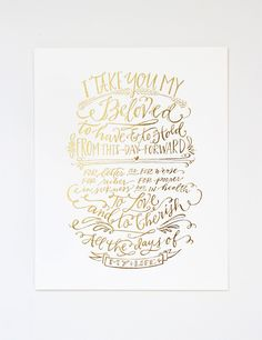 VOWS Print - Gold | Southern Weddings Shop -- fun artistic calligraphy print of each person's vow