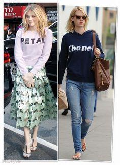Chloe Grace Moretz, Christopher Kane January Jones, Chanel sweatshirt ve Wildfox jean