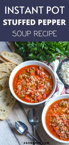 Instant Pot Stuffed Pepper Soup takes all the flavors of the classic comfort food and turns it into a quick, easy soup. This is the perfect warm meal for serving your family on a cool autumn day or all winter long. This is an amazing dish for fall and winter and can be created in a super easy and simple way! #soup #fall #winter #soupdish Chef Recipes, Quick Recipes, Healthy Recipes, Stuffed Pepper Soup, Stuffed Peppers, Soup Dish, Cook Smarts, Fall Winter, Autumn