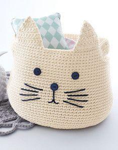 panier chat crocheté en Phil Corde, coloris Craie et… We are want to say thanks if y Gato Crochet, Love Crochet, Diy Crochet, Crochet Crafts, Crochet Toys, Crochet Projects, Crochet Baskets, Cat Basket, Basket Bag