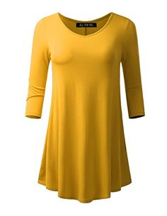 ALL FOR YOU Womens 34 Sleeve Vneck Flare Hem Tunic Mustard XLarge *** To view further for this item, visit the image link.Note:It is affiliate link to Amazon.