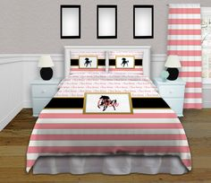 Horse Comforter Set in Pink White & Gold, with a touch of Black. Have this Horse Bedding Personalized with her Name!