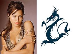 Angelina Jolie Tattoos for Men & Women Fake Tattoos, Tattoos For Guys, Che Guevara Tattoo, Tribal Cross Tattoos, Black Dragon Tattoo, Angelina Jolie, Woman Crush, Beautiful Actresses, Celebrities