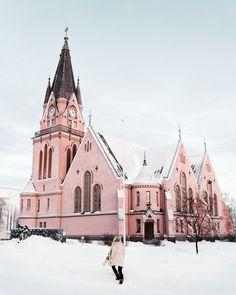 Pink church in kemi lapland finland