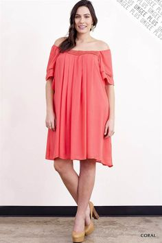 Coral Flutter Sleeve Dress - #blondellamydean #plussizefashion #plussize #curves