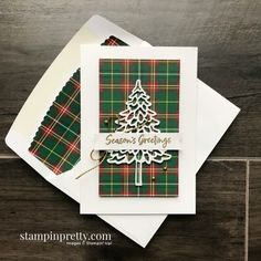 Create these Note Cards using the Plaid Tidings DSP and In the Pines Bundle from Stampin\' Up! Created by Mary Fish, Stampin\' Pretty Positive Space