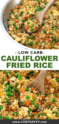 10 Most Misleading Foods That We Imagined Were Being Nutritious! Super Quick And Easy Whole 30 Cauliflower Fried Rice. A Low Carb Healthy Meal Loaded With Veggies And Eggs Ready In Under 20 Minutes Paleo Friendly And A Family Favorite Rice Recipes, Asian Recipes, Low Carb Recipes, Vegetarian Recipes, Dinner Recipes, Healthy Recipes, Ethnic Recipes, Cream Recipes, Shrimp Recipes