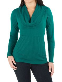 Long Sleeve Hi Ribbed Cowl Neck Sweater: Dots.com- Love a cowl neck top