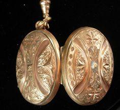 Victorian Locket rose gold filled locket  RARE beauty antique