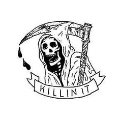 Grim Reaper funny comic drawing by Elizabeth Hudy halloween illustration
