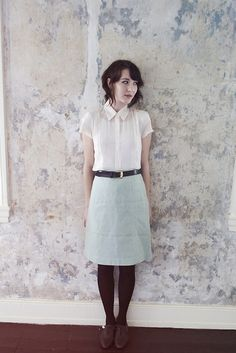 vintage blouse, mint skirt and oxfords.