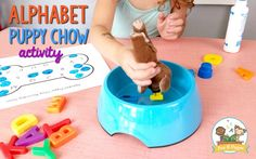 Fun Small Group Alphabet Activity for Preschool Puppy Chow Teaching The Alphabet, Learning Letters, Alphabet Activities, Dog Activities, Learning Websites For Kids, Kids Learning, Learning Spanish, Teaching Resources, Journeys Kindergarten