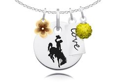 """Wyoming Cowboys Cluster Necklace with Flower, Color and Love Accents. Officially Licensed. Standard Chain Length is 16"""". Circle Charm Size is 17mm (size of a dime). Crystal Ball Measures 5mm in Diameter. """"The indicia featured on this product is a protected trademark owned by the respective college or university.""""."""