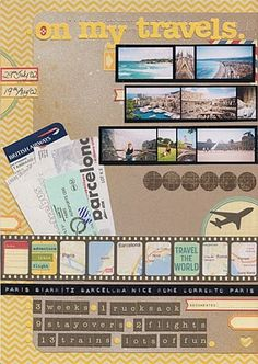 What a great travel themed scrapbook page-do at the end of unit and collect for a book.