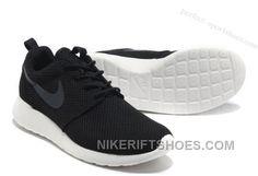 fc44ba26378 Cheap Nike Roshe Run Mens Shoes Breathable Summer Black For Sale