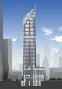 2 World Trade Center Plans and Drawings by Foster (2006): Sectional View of WTC 2 by Norman Foster, 2006