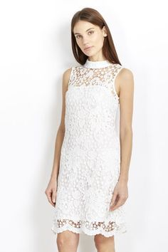 Ivory High Neck Lace Dress #wallisfashion #SS16