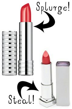 Splurge vs. Steal: Clinique's Long Wear Lipstick in Runway Coral is absolutely gorgeous bright lipstick, but can be hard on the working girl's pocketbook. For a fabulous pop at a fraction of the cost, try Maybelline's Sensational High Shine in Coral Lustre. Your lips will be a slice of summer that everyone will crave.