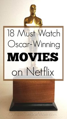 18 Oscar-Winning Movies on Netflix These Oscar-winning movies on Netflix are great to watch during Oscars weekend or any time of year. These Academy Award-winning movies on Netflix won awards for sound, costume design, makeup, music, and the Movies To Watch Comedy, Movie To Watch List, Good Movies To Watch, Movie List, Oscar Movies List, Interesting Movies To Watch, Oscar Films, Suspense Movies, Netflix Shows To Watch