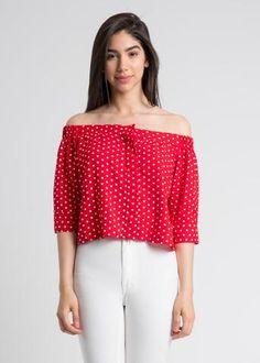 Polka Dot Off Shoulder Button Up